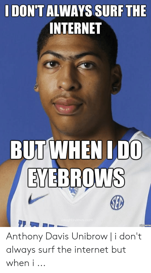 Davis Unibrow: I DON'T ALWAYS SURF THE  INTERNET  EVERROWNS  ED  zpmeme Anthony Davis Unibrow | i don't always surf the internet but when i ...