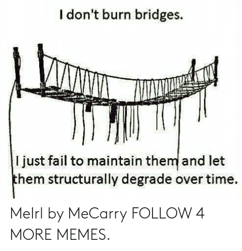 degrade: I don't burn bridges.  I just fail to maintain them and let  them structurally degrade over time MeIrl by MeCarry FOLLOW 4 MORE MEMES.