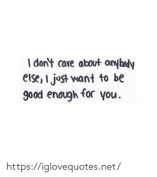 i dont care: I don't care about anybody  else, I just want to be  good enough for you. https://iglovequotes.net/