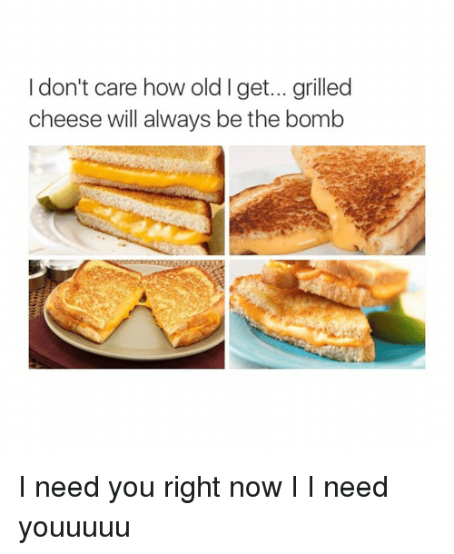Girl Memes: I don't care how old get... grilled  cheese will always be the bomb I need you right now I I need youuuuu