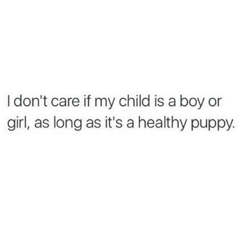 Relationships, Girl, and Puppy: I don't care if my child is a boy or  girl, as long as it's a healthy puppy.