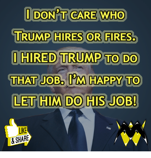 Memes, Happy, and Trump: I DON'T CARE WHO  TRUMP HIRES OR FIRES  HIRED TRUMP TO DO  THAT JOB. I'M HAPPY TO  LET HIM DO HIS JOB  LIKE  & SHARE