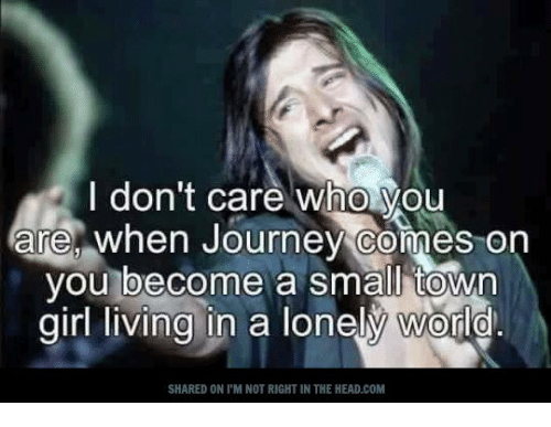 memes: I don't care who you  are, when Journey comes on  you become a small town  girl living in a lonely World  SHARED ON l'MI NOT RIGHT IN THE HEAD.COM