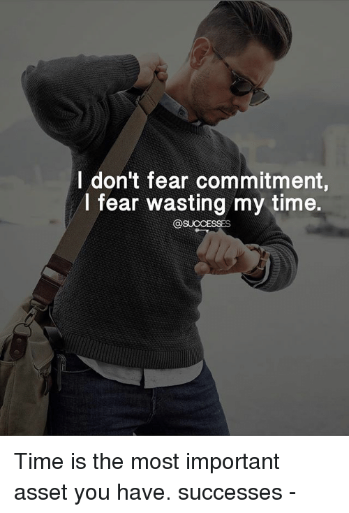 Memes, Time, and Fear: I don't fear commitment,  I fear wasting my time.  SUCCESSES Time is the most important asset you have. successes -