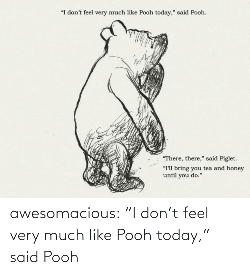 """piglet: """"I don't feel very much like Pooh today,"""" said Pooh.  """"There, there,"""" said Piglet.  """"I'll bring you tea and honey  until you do."""" awesomacious:  """"I don't feel very much like Pooh today,"""" said Pooh"""