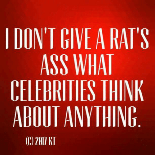 Ass, Memes, and Celebrities: I DONT GIVEA RATS  ASS WHAT  CELEBRITIES THINK  ABOUI ANYTHING  ©2011 KI