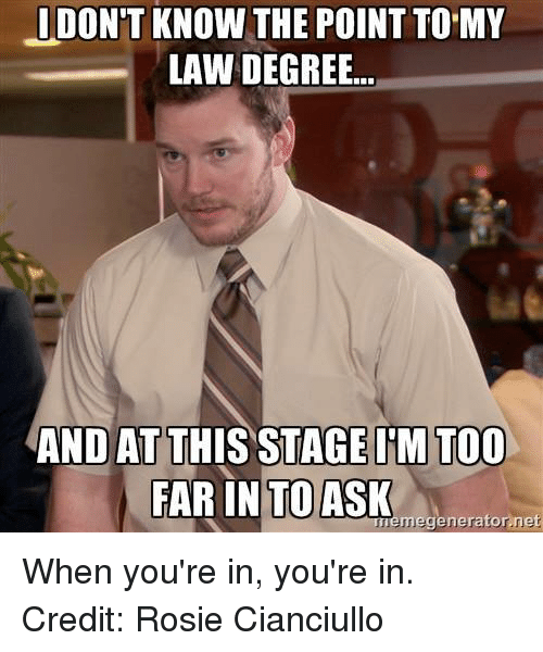 Meme Generator Net: I DON'T KNOW THE POINT TO MY  LAW DEGREE...  AND AT THIS STAGE ITM TOO  FAR IN TO ASK  meme generator net When you're in, you're in.  Credit: Rosie Cianciullo