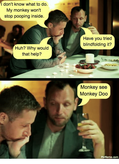Stop Pooping: I don't know what to do.  My monkey won't  stop pooping inside.  Have you tried  blindfolding it?  Huh? Why would  that help?  Monkey see  Monkey Doo  PixMeme.com