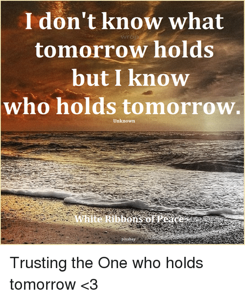 Memes, Tomorrow, and 🤖: I don't know what  tomorrow holds  but I know  who holds tomorrow.  Unknown Trusting the One who holds tomorrow <3