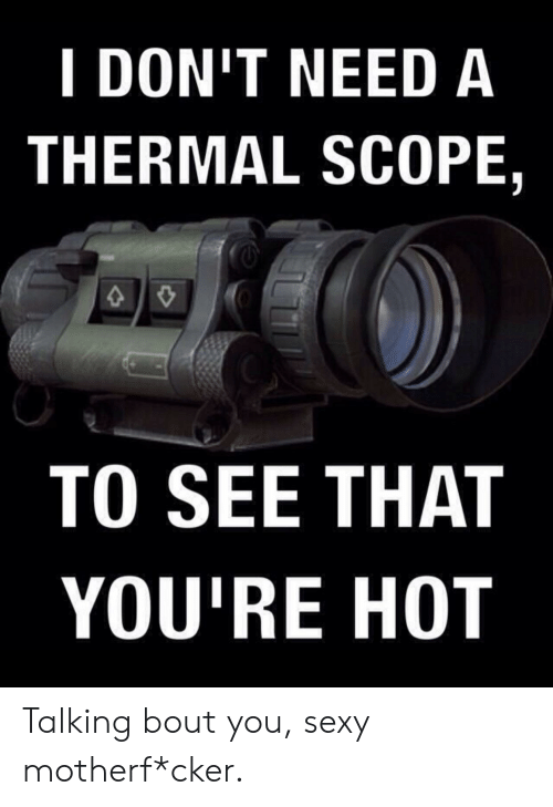 scope: I DON'T NEED A  THERMAL SCOPE,  TO SEE THAT  YOU'RE HOT Talking bout you, sexy motherf*cker.
