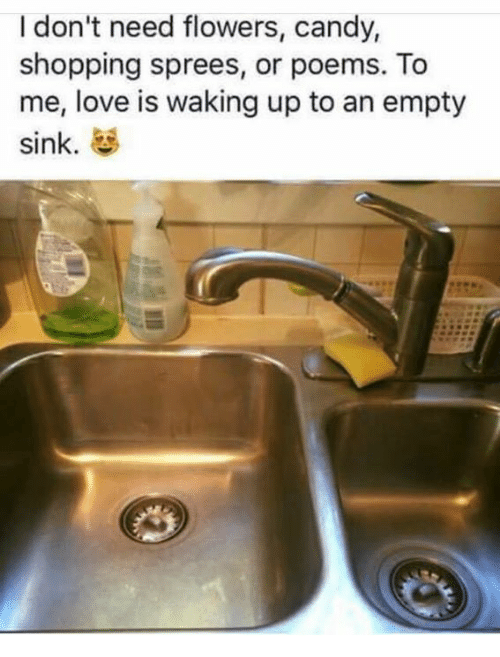 Candy, Love, and Memes: I don't need flowers, candy,  shopping sprees, or poems. To  me, love is waking up to an empty  sink.