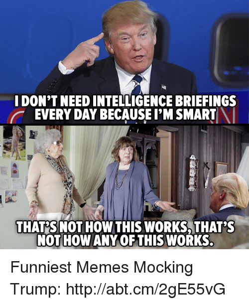 Memes, 🤖, and Smart: I DON'T NEED INTELLIGENCE BRIEFINGS  EVERY DAY BECAUSE I'M SMART  THAT SNOT HOW THIS WORKS THAT'S  NOT HOW ANY OF THIS WORKS Funniest Memes Mocking Trump: http://abt.cm/2gE55vG