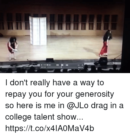 JLo: I don't really have a way to repay you for your generosity so here is me in @JLo drag in a college talent show... https://t.co/x4IA0MaV4b