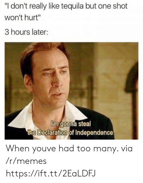 "one shot: ""I don't really like tequila but one shot  won't hurt""  3 hours later:  im gonna steal  the Deciaration of Independence When youve had too many. via /r/memes https://ift.tt/2EaLDFJ"