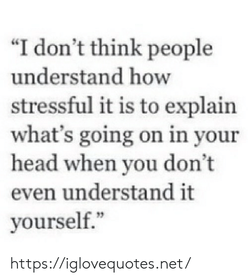 """i-dont-think: """"I don't think people  understand how  stressful it is to explain  what's going on in your  head when you don't  even understand it  yourself."""" https://iglovequotes.net/"""