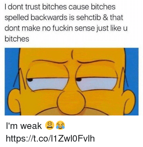 Funny, Make, and Trust: I dont trust bitches cause bitches  spelled backwards is sehctib & that  dont make no fuckin sense just like u  bitches I'm weak 😩😂 https://t.co/l1Zwl0Fvlh