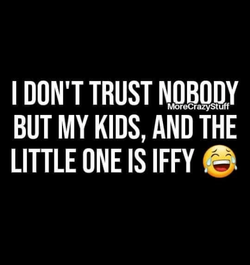 Trust Nobody: I DON'T TRUST NOBODY  BUT MY KIDS, AND THE  LITTLE ONE IS IFFY  MoreCrazyStuff