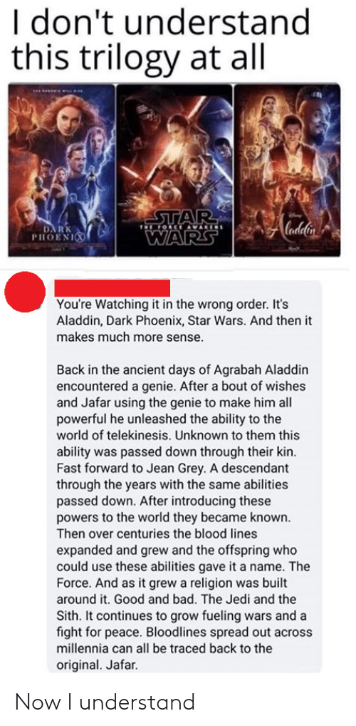 genie: I don't understand  this trilogy at all  STAR  OCE AVARIS  Cadlin  DA RK  PHOENI  WARS  You're Watching it in the wrong order. It's  Aladdin, Dark Phoenix, Star Wars. And then it  makes much more sense.  Back in the ancient days of Agrabah Aladdin  encountered a genie. After a bout of wishes  and Jafar using the genie to make him all  powerful he unleashed the ability to the  world of telekinesis. Unknown to them this  ability was passed down through their kin.  Fast forward to Jean Grey. A descendant  through the years with the same abilities  passed down. After introducing these  powers to the world they became known.  Then over centuries the blood lines  expanded and grew and the offspring who  could use these abilities gave it a name. The  Force. And as it grew a religion was built  around it. Good and bad. The Jedi and the  Sith. It continues to grow fueling wars and a  fight for peace. Bloodlines spread out across  millennia can all be traced back to the  original. Jafar. Now I understand