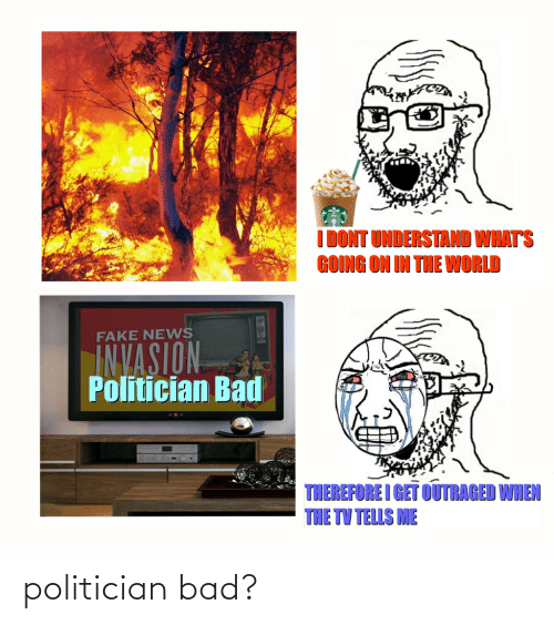 Outraged: I DONT UNDERSTAND WHAT'S  GOING ON IN TUE WORLD  FAKE NEVWS  INVASION  Politician Bad  THEREFORE I GET OUTRAGED WHEN  THE TV TELLS ME politician bad?