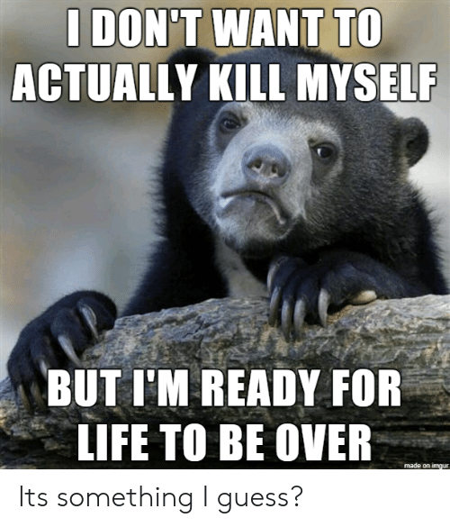 kill myself: I DON'T WANT TO  ACTUALLY KILL MYSELF  BUT I'M READY FOR  LIFE TO BE OVER  made on imgur Its something I guess?