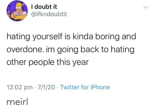 Other People: I doubt it  @ifkndoubtit  hating yourself is kinda boring and  overdone. im going back to hating  other people this year  12:02 pm · 7/1/20 · Twitter for iPhone meirl