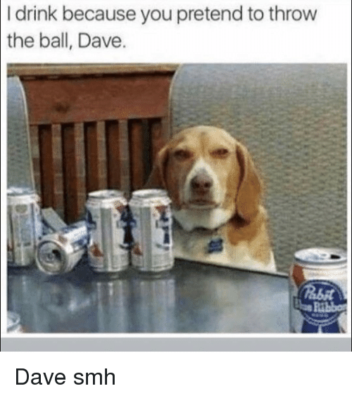Funny, Smh, and You: I drink because you pretend to throw  the ball, Dave Dave smh