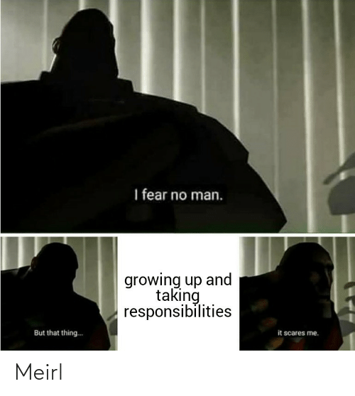 scares: I fear no man.  growing up and  taking  responsibilities  it scares me.  But that thing.. Meirl