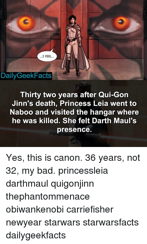 qui gon jinn: I FEEL  Daily Geek Facts  Thirty two years after Qui-Gon  Jinn's death, Princess Leia went to  Naboo and visited  the hangar where  he was killed. She felt Darth Maul's  presence Yes, this is canon. 36 years, not 32, my bad. princessleia darthmaul quigonjinn thephantommenace obiwankenobi carriefisher newyear starwars starwarsfacts dailygeekfacts
