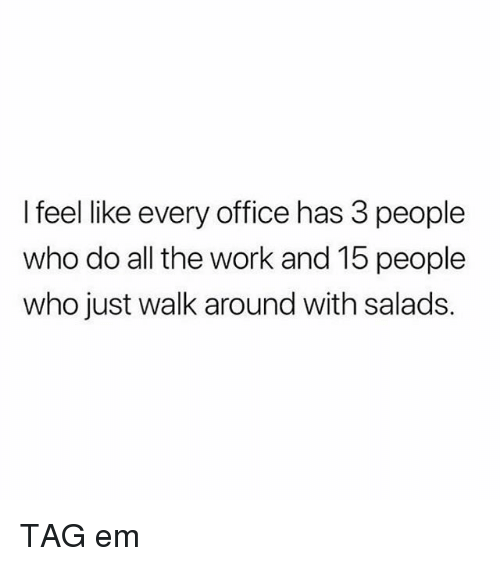 Memes, Work, and Office: I feel like every office has 3 people  who do all the work and 15 people  who just walk around with salads. TAG em