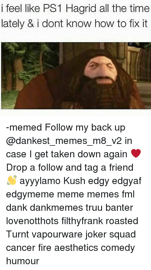 ps1: i feel like PS1 Hagrid all the time  lately & i dont know how to fix it -memed Follow my back up @dankest_memes_m8_v2 in case I get taken down again ❤ Drop a follow and tag a friend 👋 ayyylamo Kush edgy edgyaf edgymeme meme memes fml dank dankmemes truu banter lovenotthots filthyfrank roasted Turnt vapourware joker squad cancer fire aesthetics comedy humour