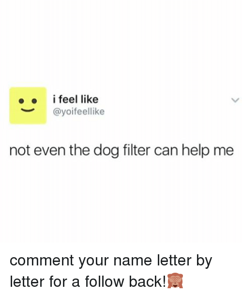 dog filter: i feel like  @yoifeellike  not even the dog filter can help me comment your name letter by letter for a follow back!🙈