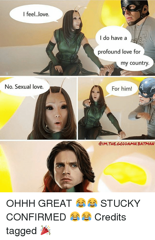 Batman, Love, and Memes: I feel...love.  No. Sexual love.  I do have a  profound love for  my country.  For him!  @IM THE GODDAMN BATMAN OHHH GREAT 😂😂 STUCKY CONFIRMED 😂😂 Credits tagged 🎉