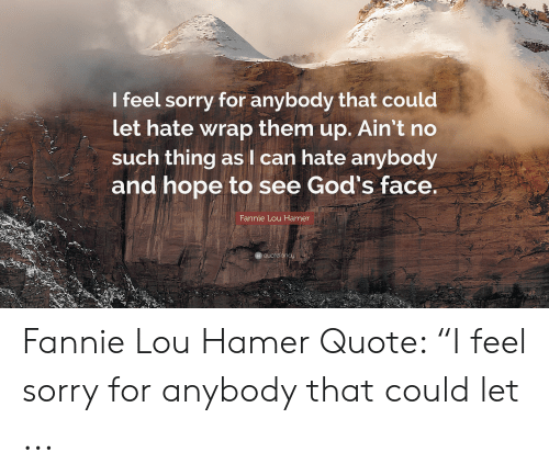 "Fannie Lou Hamer: I feel sorry for anybody that could  let hate wrap them up. Ain't no  such thing as I can hate anybody  and hope to see God's face.  Fannie Lou Hammer  qu Fannie Lou Hamer Quote: ""I feel sorry for anybody that could let ..."