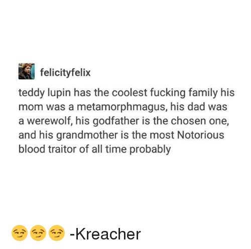 godfathers: i felicity felix  teddy lupin has the coolest fucking family his  mom was a metamorphmagus, his dad was  a werewolf, his godfather is the chosen one,  and his grandmother is the most Notorious  blood traitor of all time probably 😏😏😏  -Kreacher
