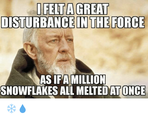 Disturbance In The Force: I FELTAGREAT  DISTURBANCE IN THE FORCE  AS IFA MILLION  SNOWFLAKES ALL MELTED ONCE ❄💧