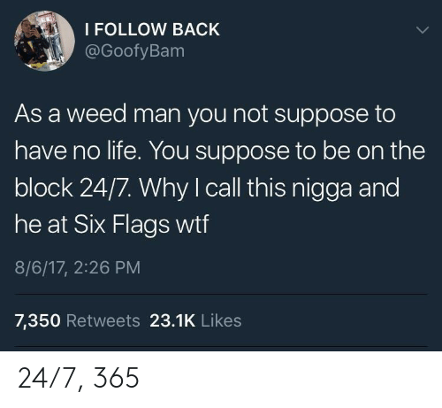 Six Flags: I FOLLOW BACK  @GoofyBam  As a weed man you not suppose to  have no life. You suppose to be on the  block 24/7. Why I call this nigga and  OC  he at Six Flags wtf  8/6/17, 2:26 PM  7,350 Retweets 23.1K Likes 24/7, 365