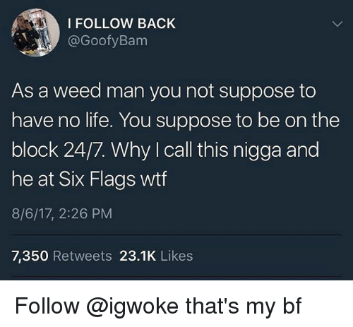 Six Flags: I FOLLOW BACK  @GoofyBanm  As a weed man you not suppose to  have no life. You suppose to be on the  block 24/7. Why I call this nigga and  he at Six Flags wtf  8/6/17, 2:26 PM  7,350 Retweets 23.1K Likes Follow @igwoke that's my bf