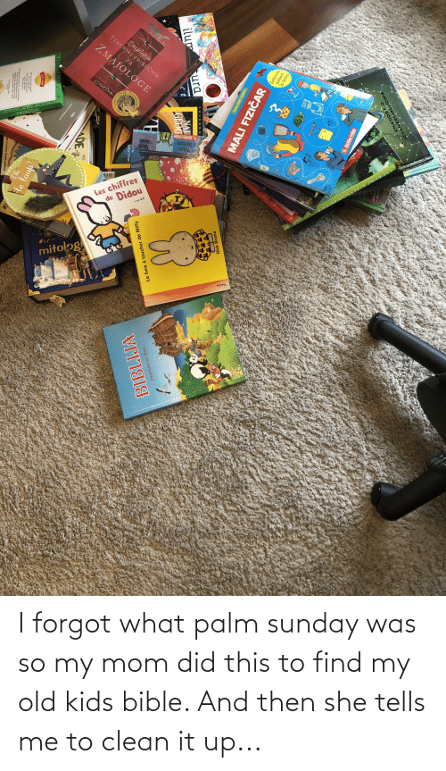 Bible: I forgot what palm sunday was so my mom did this to find my old kids bible. And then she tells me to clean it up...