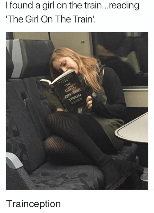 Memes, Girl, and Train: I found a girl on the train...reading  The Girl On The Train' Trainception