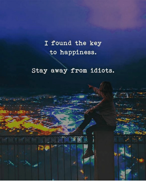 the key: I found the key  to happiness.  Stay away from idiots.