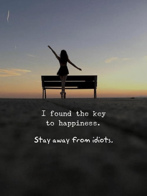 stay away: I found the key  to happiness.  Stay away from idiots