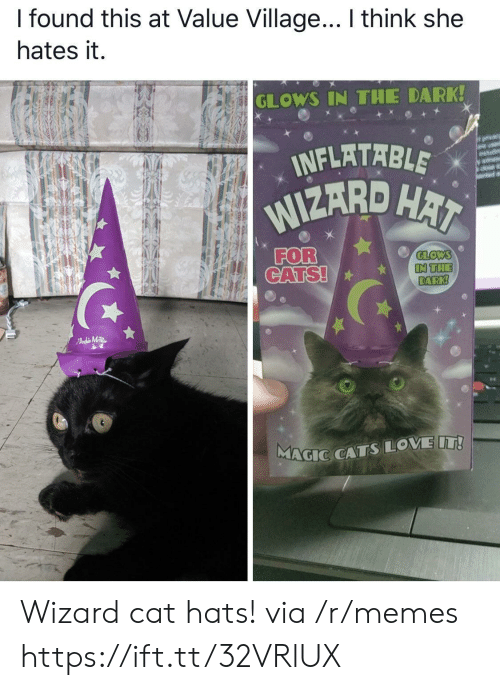 hai: I found this at Value Village... I think she  hates it.  GLOWS IN THE DARK!  INFLATABLE  WIZARD HAI  orvacy  are usd  wit  FOR  CATS!  GLOWS  IN THE  DARK!  FAdMTR  MAGIC CATSLOVE IT! Wizard cat hats! via /r/memes https://ift.tt/32VRlUX
