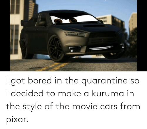 Pixar: I got bored in the quarantine so I decided to make a kuruma in the style of the movie cars from pixar.