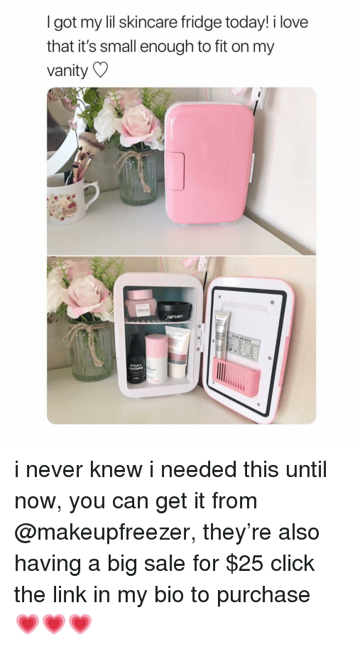 skincare: I got my lil skincare fridge today! i love  that it's small enough to fit on my  vanity  COOLER BOX i never knew i needed this until now, you can get it from @makeupfreezer, they're also having a big sale for $25 click the link in my bio to purchase 💗💗💗