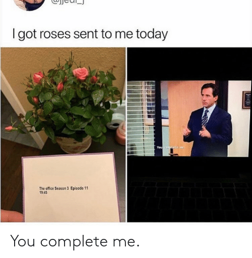 Season 3: I got roses sent to me today  You compiste me  Episode 11  The office Season 3  19:45 You complete me.