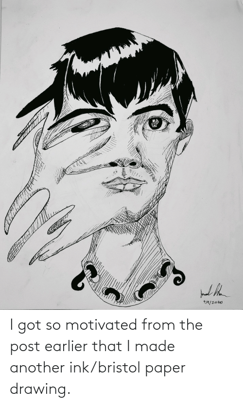 ink: I got so motivated from the post earlier that I made another ink/bristol paper drawing.