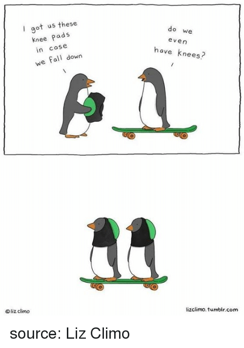 Fall, Tumblr, and Got: I got us these  knee Pads  in case  we fall down  do we  even  have knees?  O liz climo  liz climo  lizclimo. tumblr.com source: Liz Climo