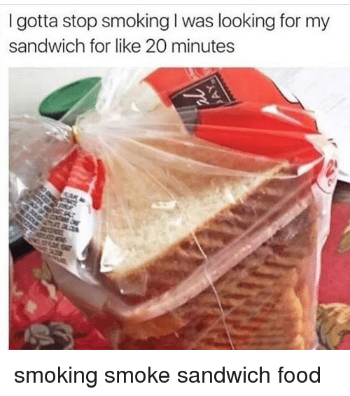 Memes, Smoking, and 🤖: I gotta stop smoking l was looking for my  sandwich for like 20 minutes smoking smoke sandwich food