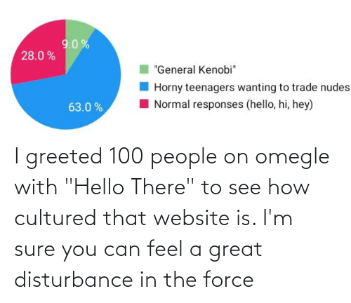 """100 People: I greeted 100 people on omegle with """"Hello There"""" to see how cultured that website is. I'm sure you can feel a great disturbance in the force"""