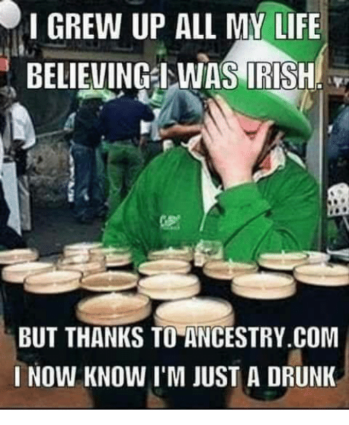 Drunk, Irish, and Life: I GREW UP ALL MY LIFE  BELIEVINGWAS IRISH  BUT THANKS TO ANCESTRY.COM  I NOW KNOW I'M JUST A DRUNK